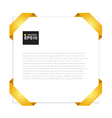 Blank paper with yellow origami frame EPS10 vector image