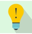 Light bulb with exclamation mark icon flat style vector image