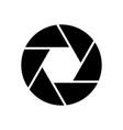 camera objective icon shutter closeup simbol vector image