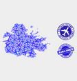 airplane mosaic antigua island map and vector image vector image