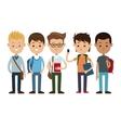 back to school friends boys happy vector image vector image