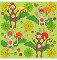 Background a monkey with bananas vector image