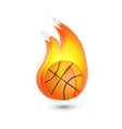 basketball on fire icon logo vector image vector image