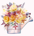 beautiful autumn rose flowers in water can vector image