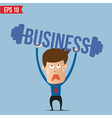 Business man lifting business barbell - - EP vector image