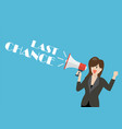 business woman holding a megaphone with word last vector image vector image