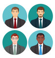 businessman avatar four pictures set on vector image vector image