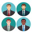 businessman avatar four pictures set vector image