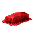 car covered with red silk cloth vector image vector image