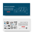 car spares and auto parts with vehicle scheme vector image vector image