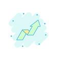 cartoon arrow growing graph icon in comic style vector image vector image