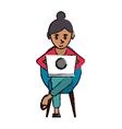 cartoon beutiful girl using laptop sitting vector image vector image