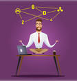 cartoon businessman sitting in lotus pose vector image vector image