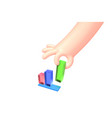 cartoon hand with bright business chart vector image