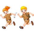 cartoon kids running with safari costumes vector image vector image