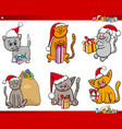 cats on christmas time cartoon set vector image vector image