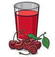 cherry glass juice vector image vector image