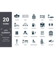 city elements icon set contain filled flat vector image vector image