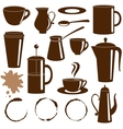 Coffee and tea items silhouettes set vector image vector image
