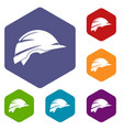 Construction helmet icons set vector image