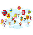 counting numbers with kids on balloons vector image vector image