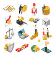 cryptocurrency isometric icons set vector image vector image