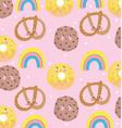 cute food pattern design decoration pretzel vector image vector image