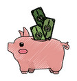 cute pig to save cash money vector image vector image