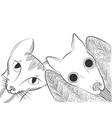 doodle bat and cat head vector image vector image