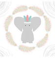 elephant with feathers hat and frame vector image