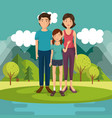 family members outside of the house vector image