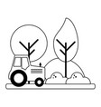 farm tractor riding in harvest black and white vector image
