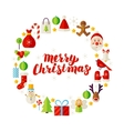 Flat Circle Merry Christmas Objects vector image