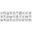 funny dogs faces doodle set vector image vector image
