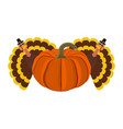 funny peligrimm with a pumpkin for thanksgiving vector image vector image