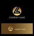 gold round letter l logo vector image