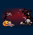 halloween backgroundspooky many character of ghost vector image vector image