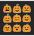 Halloween pumpkins flat stikers set vector image vector image