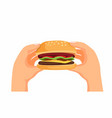 hand holding fresh burger fast food symbol vector image vector image