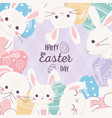 Happy easter day lovely rabbits with cute eggs