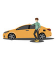 happy man to the car vector image vector image