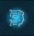 human head icon over blue circuit motherboard vector image