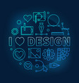 i love design blue concept round line vector image vector image