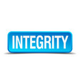 integrity blue 3d realistic square isolated button vector image vector image