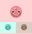 logo coffee cups cakes doughnut circle emblem vector image