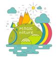Magic nature mountains river sun Concept vector image