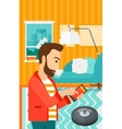 Man with robot vacuum cleaner vector image vector image