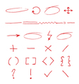 Marker emphasis handwritten circles arrows and vector image vector image