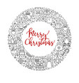 merry christmas card decor xmas line icons on vector image