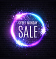 neon cyber monday sale discount card with glowing vector image vector image